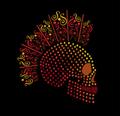 Punk skull icon neon color with dots and ornament details
