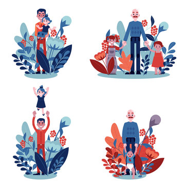 Vector illustration set of fathers with their children isolated on white background with floral decorations - young dad holding and playing with his kids for happy family concept in flat style.
