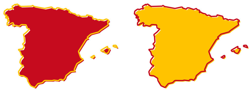 Simplified map of Spain outline. Fill and stroke are national colours.