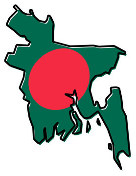 Simplified map of Bangladesh outline, with slightly bent flag under it.