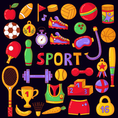 Sport fitness icons vector collection