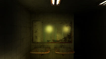 horror and creepy toilet in the hospital .3D rendering Wall mural