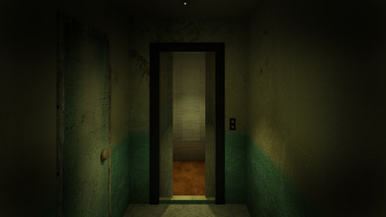 horror and creepy lift in the hospital .3D rendering
