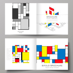 The vector illustration of two covers templates for square design bifold brochure, magazine, flyer, booklet. Abstract polygonal background, colorful mosaic pattern, retro bauhaus de stijl design.
