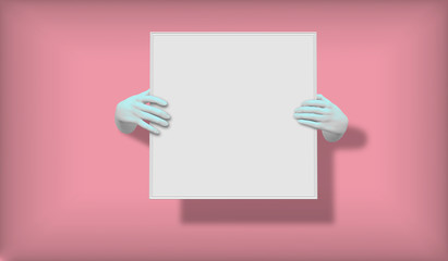 3D vector illustration of blue hands empty frame isolated on pink, abstract fashion background, shop display, mannequin body part, show, presentation