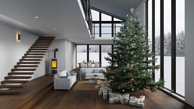 Weihnachtsbaum im Wohnzimmer