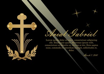 Funeral announcement in luxurious design. Luxurious obituary with golden crucifix and lawrence branches on black background with light rays. Vector template