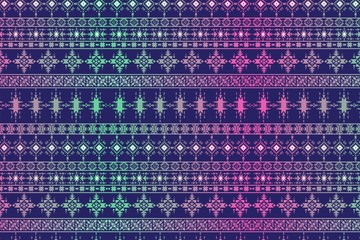 Hand drawn seamless tribal patter with gradient colors.vector Illustration.Stylish Art Ethnic Print Ornament