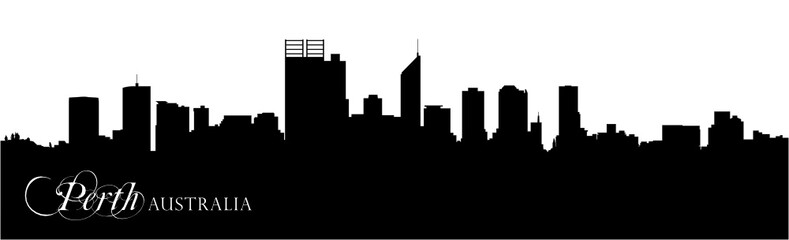 vector skyline silhouette of australian city Perth