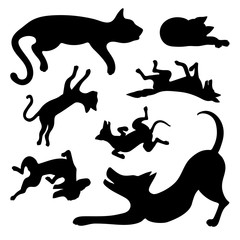 Set of silhouettes of happy dogs and cats.