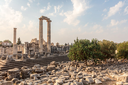 The historical ruins of the Temple of Apollo located in Didim at Aydn Province of Turkey.