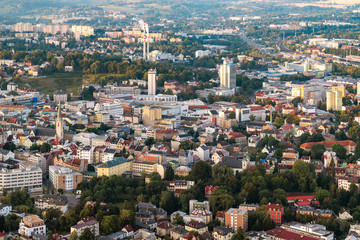 Aerial shot of Liberec city from hotair balloon