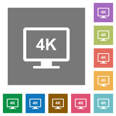 4K display square flat icons