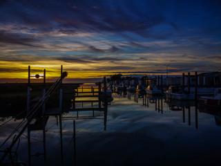 Sunset in a little port of Bourgneuf en Retz, France