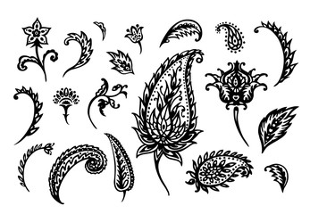 Set of paisley on a white background, oriental pattern, black and white vector illustration