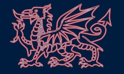 Welsh Dragon Abstract Outline
