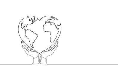 Vector illustration of the continuous line drawing of two hands holding the Earth or the heart and world. The world of love. The happy world day.
