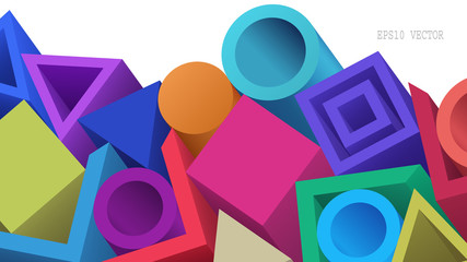 Abstract Colorful Geometric 3d Objects on White Background. Modern Cover Design. Aspect Ratio 16:9. EPS 10 Vector.