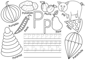 Letter P. English alphabet. Education for children. Writing practice with pictures. Coloring book.