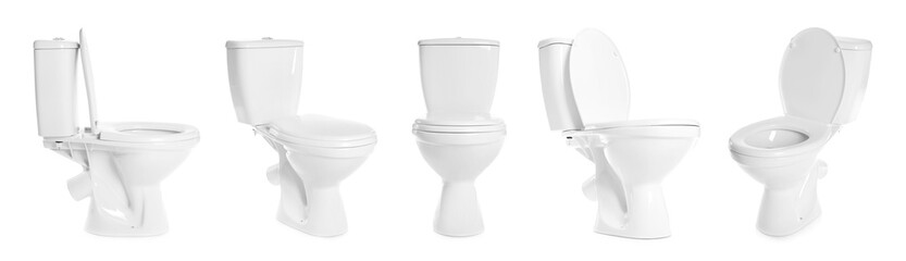Set with toilet bowls on white background