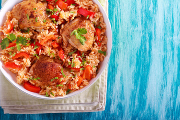 Chicken thighs rice and red pepper casserole