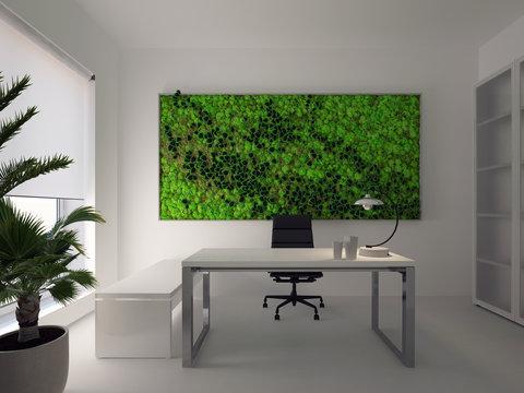 green wall in modern white office. 3d rendering