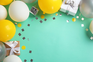 Fotobehang - Flat lay composition with air balloons and space for text on color background