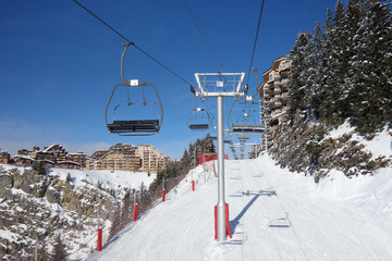 Ski lift in the center of Avoriaz a resort in the Portes du Soleil area of the French Alps.