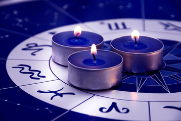 Blue horoscope with zodiac signs and three candles like astrology concept