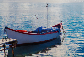 Beautiful landscape with boat in the sea
