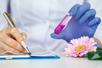 Medicine. Lab Technician Doing Chemistry Experiment. Close Up Of Scientist Checking Test Tube In Laboratory