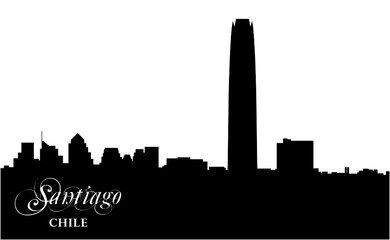 skyline vector silhouette of the chilean capital Santiago