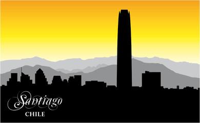 skyline vector silhouette of the chilean capital Santiago