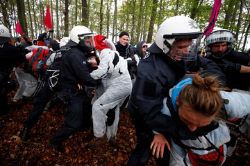 "Environmental activists protest for the preservation of the ancient forest ""Hambacher Forst"", near Kerpen-Buir"
