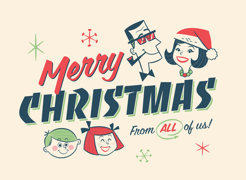 Vintage Style Family Spirit Christmas Postcard. Editable EPS10.