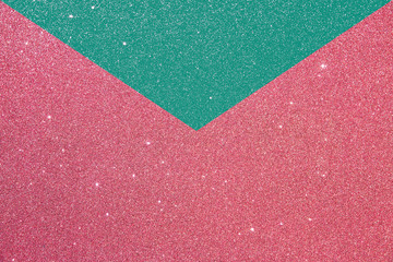 pink and green glitter envelope card. texture background