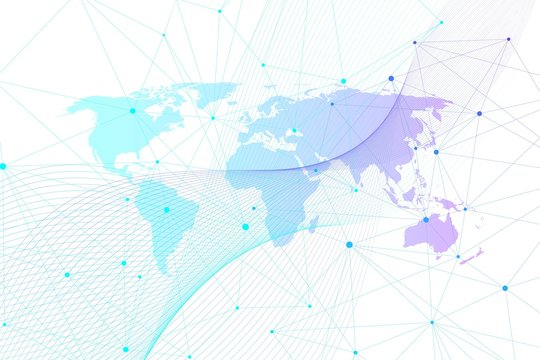 Global network connections with world map. Internet connection background. Abstract connection structure. Polygonal space background. Vector illustration.