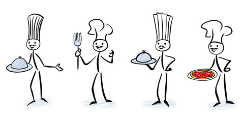Set of stylized chefs holding kitchen cloche or pizza - Sick figure vector illustration