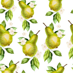 Watercolor Pattern with pears and flowers.
