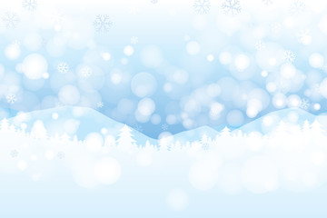 Winter landscape with snowflakes and bokeh background. Vector illustration