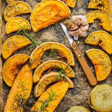 Baked roasted grilled orange pumpkin butternut squash and sweet potato