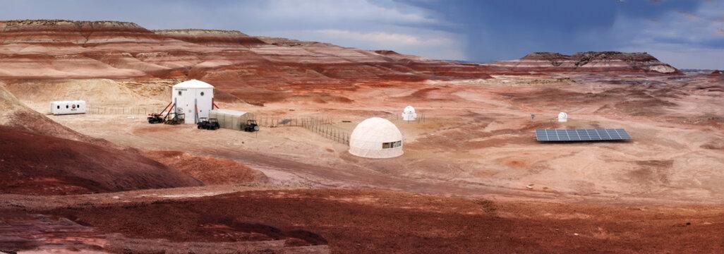 HANKSVILLE, UTAH - AUGUST 15, 2018: Panorama of the Mars Desert Research Station.