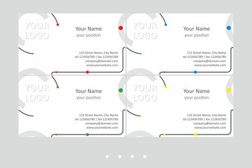 Bright business card vector templates set. Universal geometric seamless design in gray and black colors with color accent on the white background - just placetext. Available in EPS - CMYK - Calibri