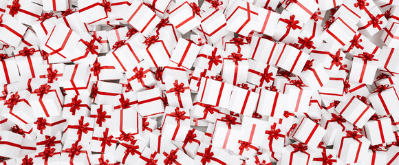 Gift background for Christmas with a bunch of gifts in red white
