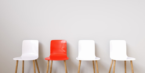 Chairs in modern design arranged in front of the wall for interior or graphic backgrounds Wall mural
