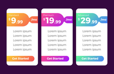 clean and modern pricing table