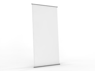 Blank roll up banner display. Template mockup. 3D