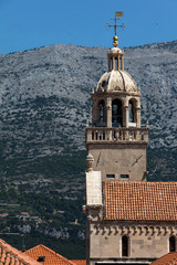 Bell tower of the Cathedral of Saint Mark in Korcula, Croatia, built in the 15th-16th centuries