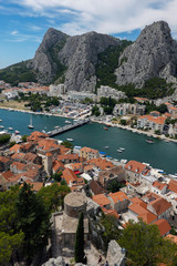 Omis, a small town and port at the mouth of the Cetina River in Croatia