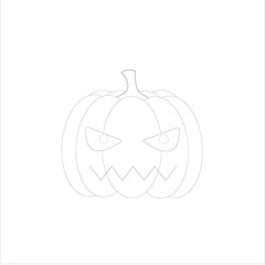 Vector of a simple pumpkin for halloween with angry face so you can paint or color when you print it.